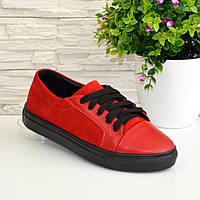 Женские туфли на утолщенной плоской подошве, натуральная кожа и замша красного цвета