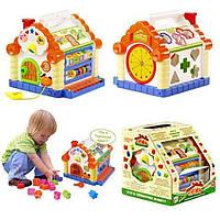 Музыкальный сортер Теремок Joy Toy 9196, цветные фигурки, счетная доска, фортепьяно, подсветка, звуки животных
