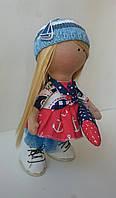 Девочка-рыбачка с рыбкой, кукла Большеножка, Снежка, Hand made