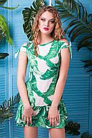 Платье Летнее Легкое с Модным Пальмовым Принтом р. 42-50