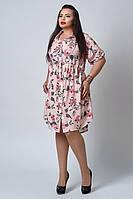 Женское платье - рубашка с цветами. Размеры 54-60.