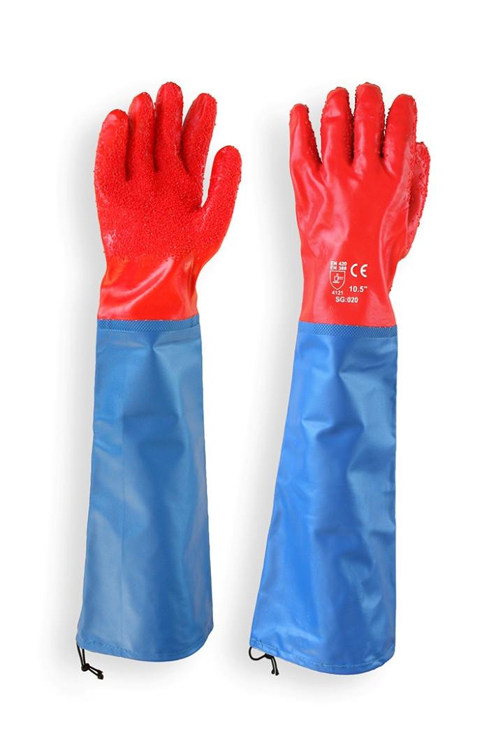 Перчатки МБС красные с нарукавником