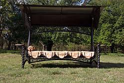 """Качели для сада """"Эмир"""" черного/коричневого цвета (с мягкой частью), материал основы сидения - дуб, фото 2"""
