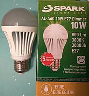 Светодиодная лампа диммируемая типа А60 Spark LED 10W 3000K для общего и декоративного освещения