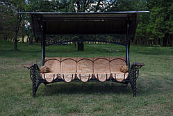 """Качели для сада """"Эмир"""" черного/коричневого цвета (с мягкой частью), материал основы сидения - дуб, фото 3"""