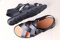 Мужские сандалии, из натуральной кожи, черные