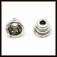 """Колпачок бижутерный """"серебро""""  (диам. 0,5 см, высота 0,4 см) 60 шт в уп."""