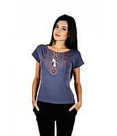 Сучасна вишита футболка. Жіноча вишита футболка. Футболка сірого кольору з  вишивкою. b25d415de1668