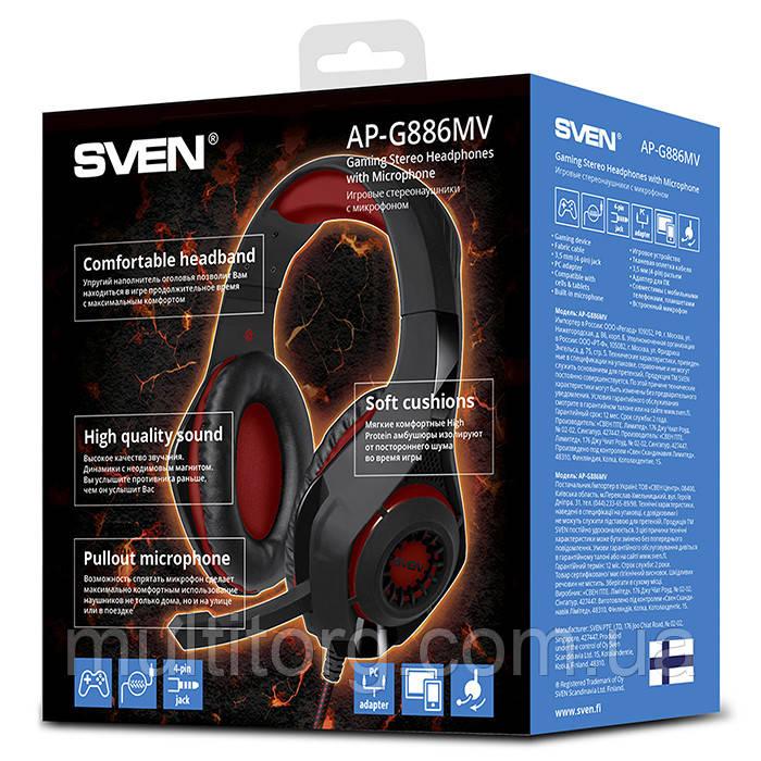 Наушники SVEN AP-G886MV с микрофоном игровые гарнитура 4pin для смартф 6