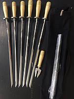 Набор шампуров ручной работы (6 шт, мангал и вилка для снятия мяса)