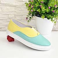 Женские туфли на утолщенной плоской подошве, натуральная кожа желтого и мятного цвета.