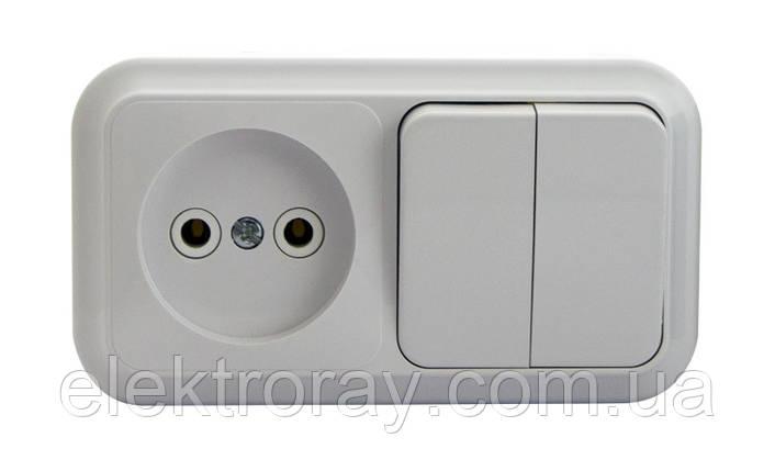 Розетка +выключатель двухклавишный Bylectrica Пралеска белая, фото 2