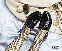 Фирменные женские черные туфли в стиле оксфорд.