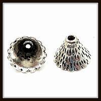 """Колпачок бижутерный """"серебро""""  (диам. 1,2 см, высота 0,9 см) 15 шт в уп."""