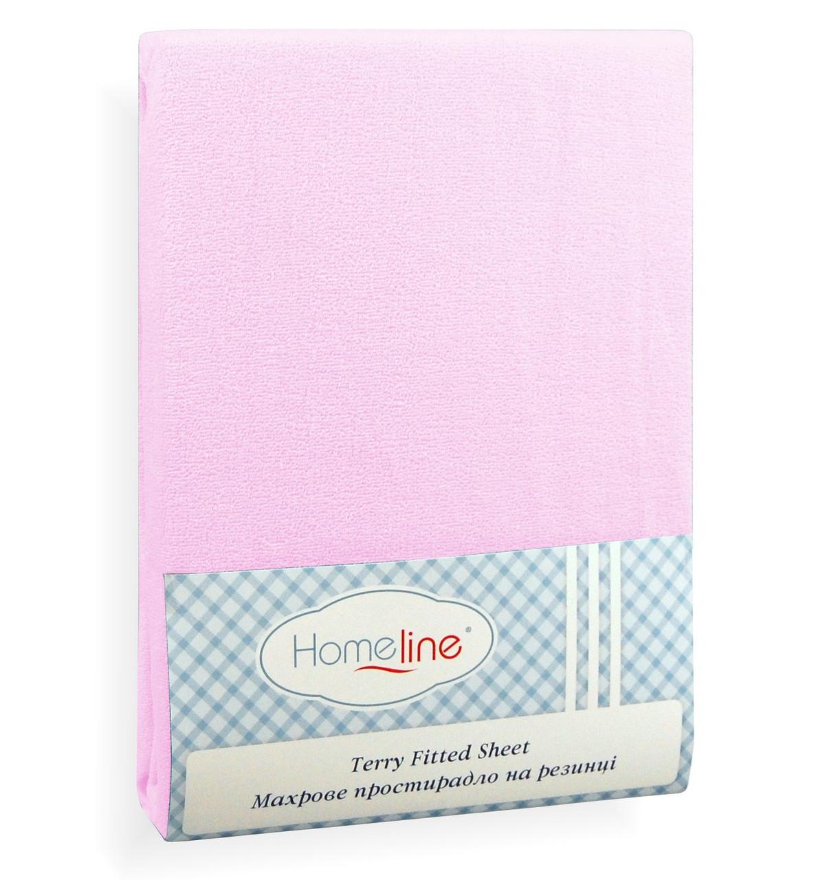 Простынь махровая на резинке хлопок 160х200 розовая 150 г/м2