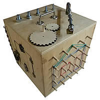 Бизикуб натуральный цвет, с гайками, busybox, куб, фото 1