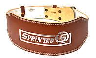 """Пояс для тяжелой атлетики """"SPRINTER"""". Широкий, кожаный, коричневый, 1-й сорт. Размер: xL."""
