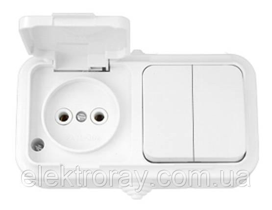 Розетка брызгозащищенная IP54 + выключатель двухклавишный  Bylectrica Пралеска белая, фото 2