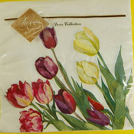 Декоративная трехслойная бумажная салфетка, Цветы