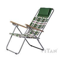 Кресло-шезлонг Ясень Бязь (зеленая клетка)