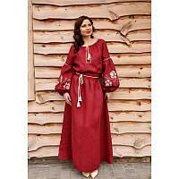 Длинное льняное платье в пол с вышивкой красного цвета П24-266