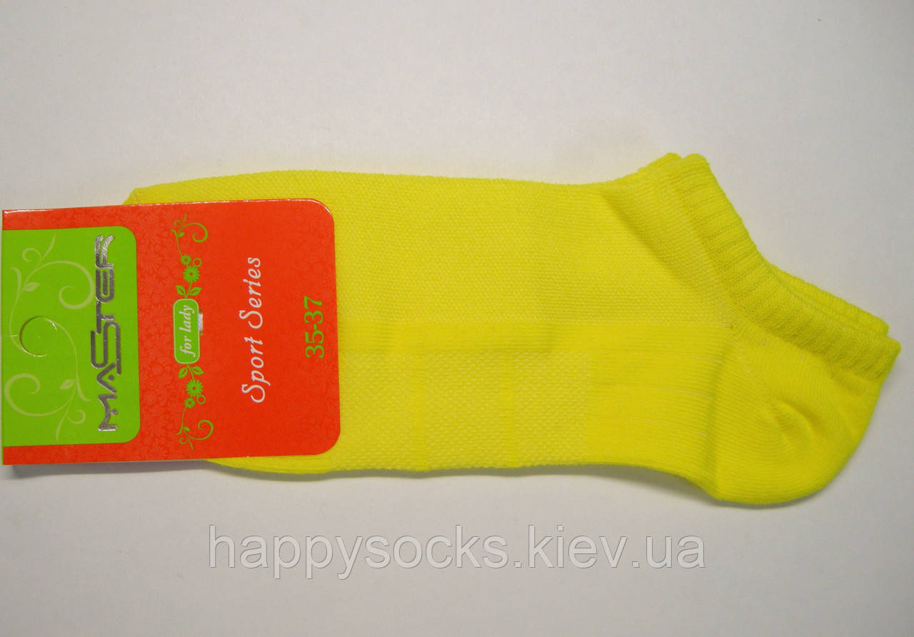 Низкие носки желтого цвета в сетку женские