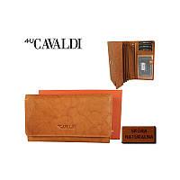 Светло-коричневый кошелек женский  кожаный CAVALDI Польша