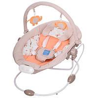 Детская электро качель M 2130-6 для новорожденных (бежевая)