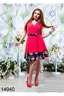Платье с поясом   в расцветках