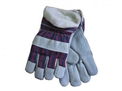 """Замшевые рабочие утепленные перчатки усилинные кожей """"Замш утепленный"""""""