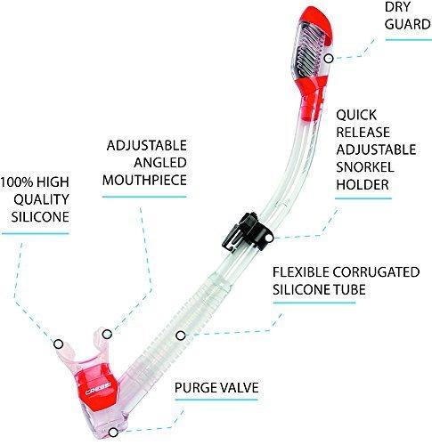 Трубка с двумя клапанами для подводного плавания и дайвинга CRESSI-SUB Dry PINK, цвет розовый