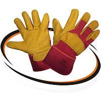 """Перчатки кожаные рабочие (утеплённые защитные перчатки) """"Кожа утепленные желтые"""""""