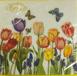 Декоративная двухслойная бумажная салфетка, Цветы