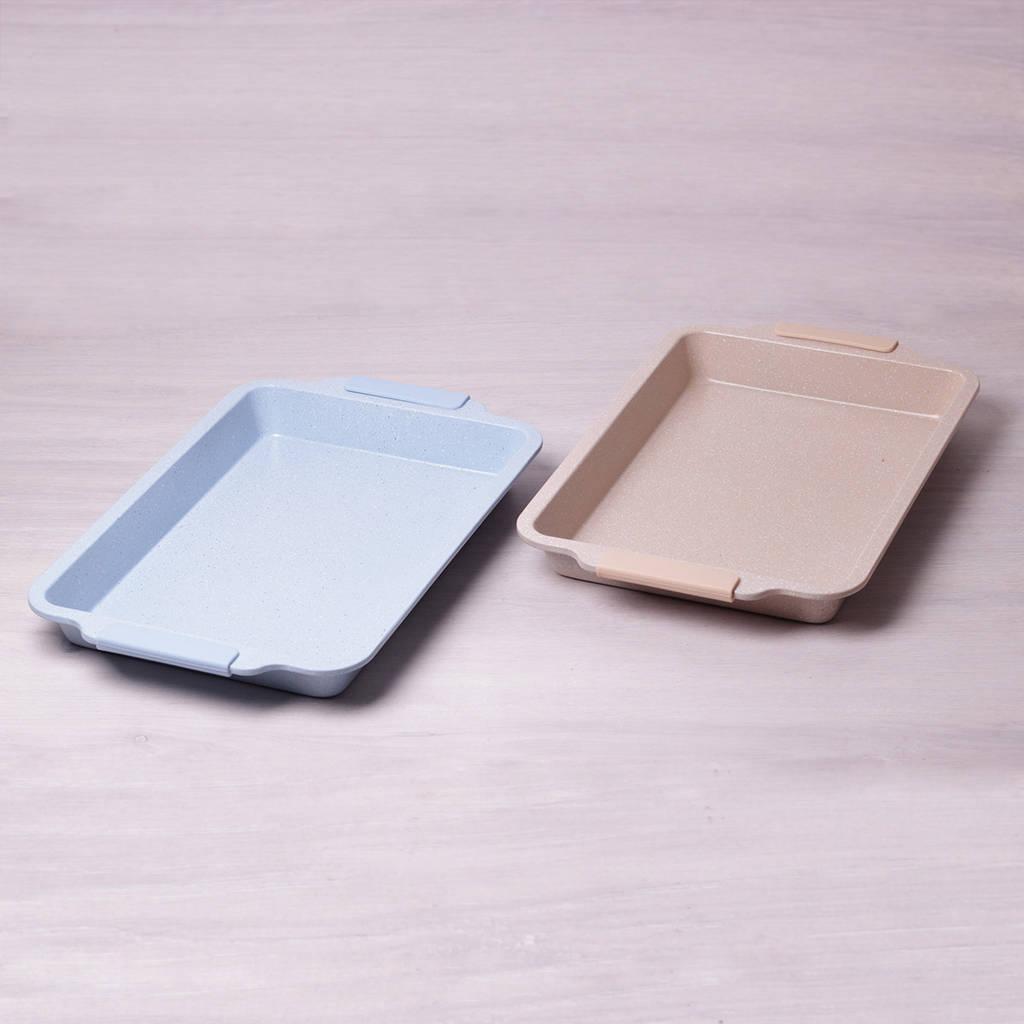 """Форма для запекания Kamille 46*29.5*4.5см с антипригарным покрытием """"мрамор"""" и силиконовыми ручками"""