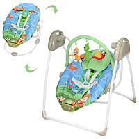 Детская электро качель M 2130-5 для новорожденных (голубо-зеленая)