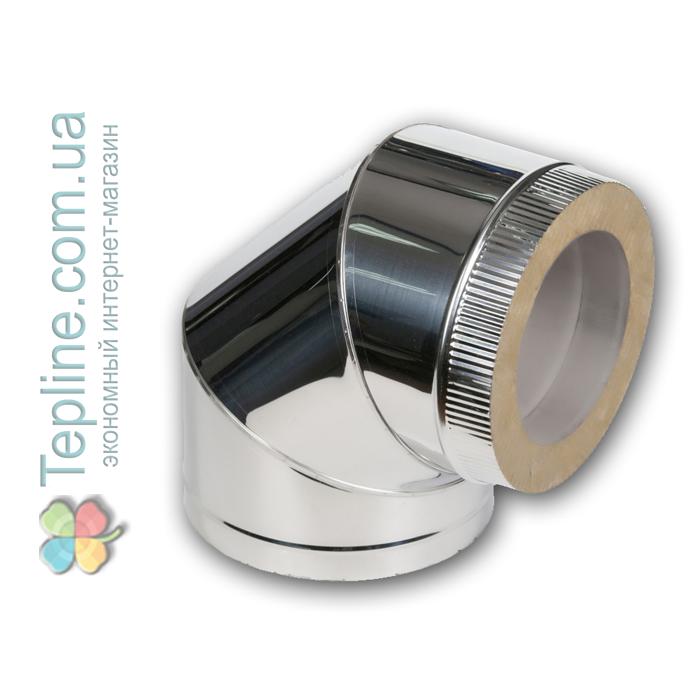 Коліно-сендвіч 90° для димоходу d 250 мм; 0,5 мм; AISI 304; неіржавіюча сталь/неіржавіюча сталь - «Версія-Люкс»