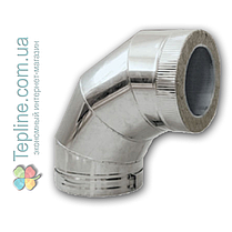 Коліно-сендвіч 90° для димоходу d 250 мм; 0,5 мм; AISI 304; неіржавіюча сталь/неіржавіюча сталь - «Версія-Люкс», фото 3