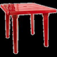 Стол пластик квадратный красный 80х80 см
