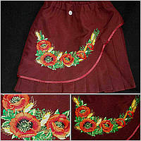 "Вышитая юбочка для девочки ""Маки с колосками"", рост 116-146 см., 200/165 (цена за 1 шт. + 35 гр.)"