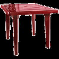 Пластиковый стол квадратный вишневый 80х80 см