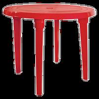 Стол из пластика круглый красный диаметр 90 см