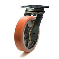 Колеса с поворотным кронштейном с площадкой, диаметр 200 мм, нагрузка 1000 кг, Фрегат 51 25 200 ШФ (Полиуретан /  чугун) старый код 525XL