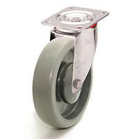 Колеса с поворотным кронштейном с площадкой, диаметр 125 мм, нагрузка 120 кг, Фрегат 62 20 125 ШК-1 (Серая термопластичная резина / полипропилен