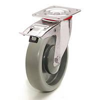 Колеса поворотные с тормозом с площадкой, диаметр 125 мм, нагрузка 120 кг, Фрегат 62 30 125 ШК-1 (Серая термопластичная резина / полипропилен (комфорт