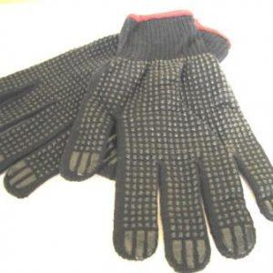 Черные рабочие перчатки с ПВХ точкой
