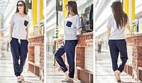 Женский удобный льняной костюм: футболка и брюки