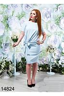 Платье с бантом на поясе   в расцветках