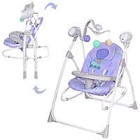 Детская электрокачеля 2в1 BAMBI M 1540-04-2 с подвесками (фиолетовый)
