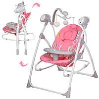 Детская электрокачеля 2в1 BAMBI M 1540-01-2 с подвесками (розовая)