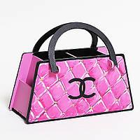 Подставка под канцтовары Розовая дизайнерская сумочка